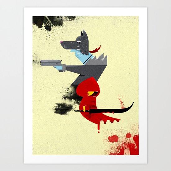 Red Hood & The Badass Wolf Redux Art Print