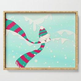 Christmas Peekaboo Snowman I - Mint Blue Snowy Background Serving Tray