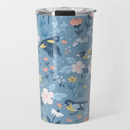 Birds & Blooms (Blue) Travel Mug