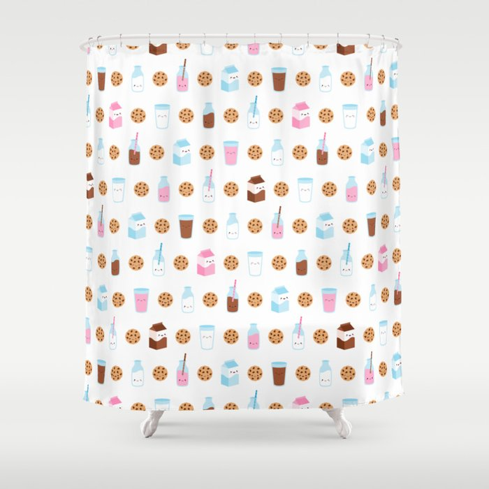 Milk and Cookies Pattern on White Shower Curtain