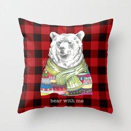 Bear With Me on Dark Throw Pillow