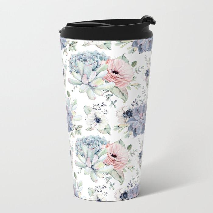 Succulents Blue + Rose Pink on White Metal Travel Mug