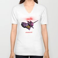 evangelion V-neck T-shirts featuring Evangelion Unit 01 - Rebuild of Evangelion 3.0 Movie Poster by Barrett Biggers