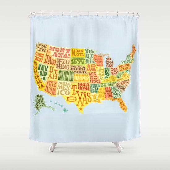 united states of america map shower curtain by lynne