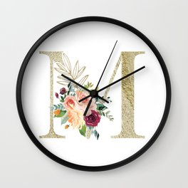 M Monogram Gold Foil Initial with Watercolor Flowers Wall Clock