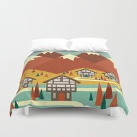 switzerland Duvet Covers featuring Switzerland by Kakel