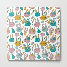Pattern Project #14 / Bunny Faces Metal Print