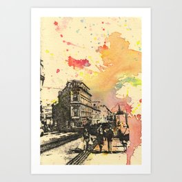 Walking in Rome Art Print