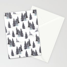 White Snowy Winter Mountains Watercolor Landscape Pattern  Stationery Cards