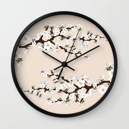 Japanese Sakura Cherry Blossoms (ivory/white) Wall Clock