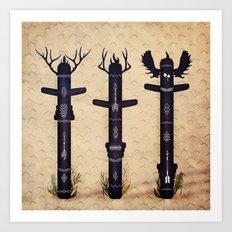 Totem Poles Art Print