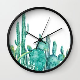 green cactus jungle watercolor Wall Clock