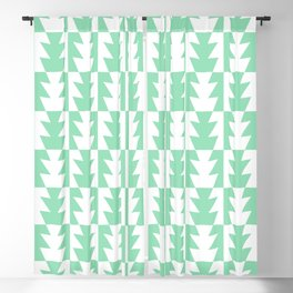 Art Deco Jagged Edge Pattern Mint Green Blackout Curtain