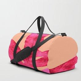 Peach Pink Ferns, Living Coral Duffle Bag
