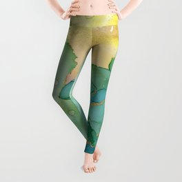 Turquoise Summer Brass Sand Leggings