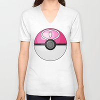 pokeball V-neck T-shirts featuring Love Pokeball by Amandazzling
