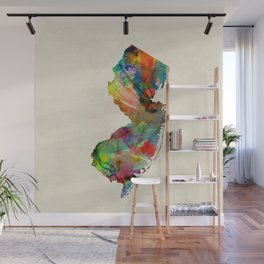 New Jersey Watercolor Map Wall Mural