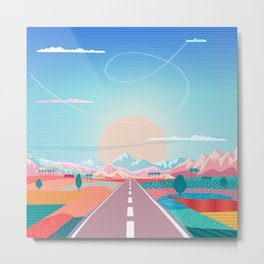 Summer Road trip to Rocky Mountains Adventures in Nature, car blue sky land airplane rural landscape Metal Print