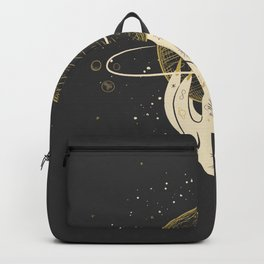 Mystic 94 Minimalist Magical Astrological Illustration Tattoo Hand Grasping Saturn Symbol Yellow Pastel, Gothic Boho Bohemian Style Backpack