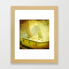 She Sells Seashells I seashells, tall tales, she sells seashells, nursery, rhyme, yellow, brown, gol Framed Art Print
