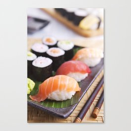Various Japanese sushi on a plate, shallow depth of field Canvas Print
