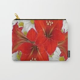 RED AMARYLLIS WHITE DAISIES FLORAL ART Carry-All Pouch