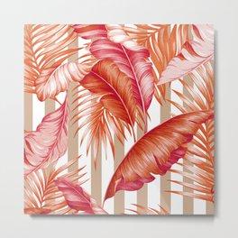 HAWAIIAN GARDEN TROPICAL LEAVES | coral peach taupe Metal Print