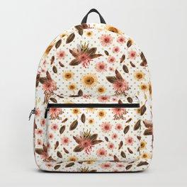 Beautiful Australian Native Flowers on Gold Polka Dots Backpack