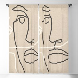 Abstract Face 17 Blackout Curtain