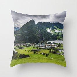 Schwyz Valley And Lauerzersee - Switzerland Throw Pillow