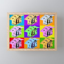 Poster with dollars house in pop art style Framed Mini Art Print