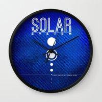 solar system Wall Clocks featuring Solar System by Sixtybones