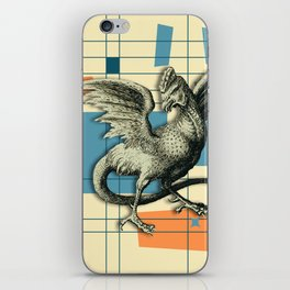 Mythical Cockatrice on Retro Pattern iPhone Skin