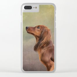 Dog breed long haired dachshund portrait oil painting Clear iPhone Case