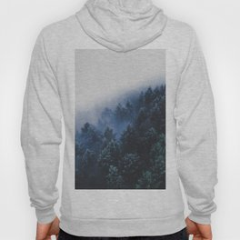 Foggy Blue Purple Mountain hill Pine Trees Landscape Nature Photography Minimalist Modern Art Hoody
