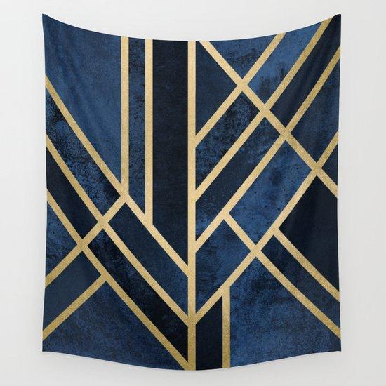 Art Deco Midnight Wall Tapestry