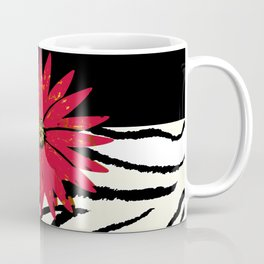 Animal Print Zebra Black and White and Red flower Medallion Coffee Mug