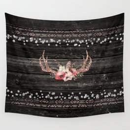 Glam Boho Chic Floral Antlers & Rustic Wood Wall Tapestry