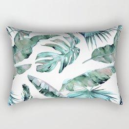 Tropical Palm Leaves Blue Green on White Rectangular Pillow