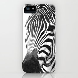Black and white zebra illustration iPhone Case
