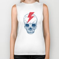 teeth Biker Tanks featuring Skull Bolt by Rachel Caldwell
