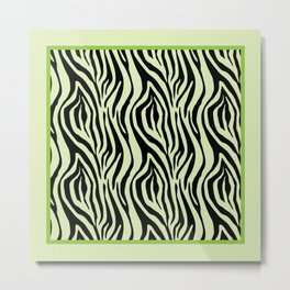 Green Zebra Stripes Palm Beach Preppy Metal Print
