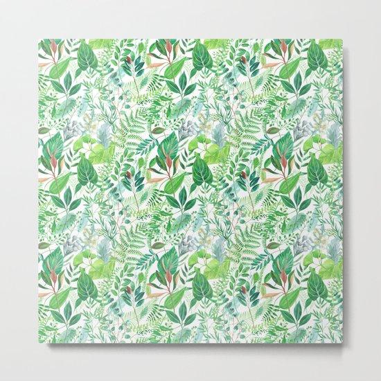 greenery watercolor pattern Metal Print