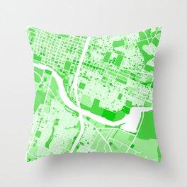 Austin City Map Green Throw Pillow