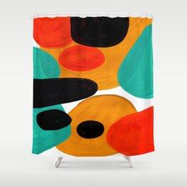 Mid Century Modern Abstract Minimalist Retro Vintage Style Rolie Polie Olie Bubbles Teal Orange Shower Curtain