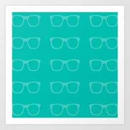 Glasses Pattern (Teal) Art Print