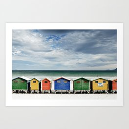 Beach Huts - Colorful houses and Sea, Cape Town, South Africa Art Print