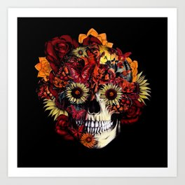 Full circle...Floral ohm skull Art Print