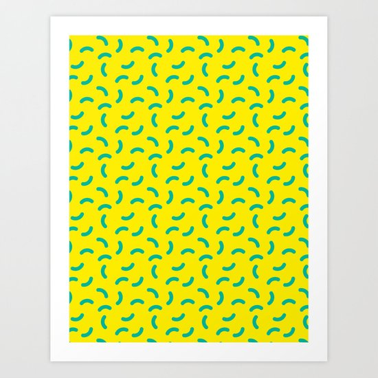 Green Yellow Squiggle Pattern Wotsits Art Print