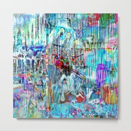Double Exposed Drip Collage Metal Print